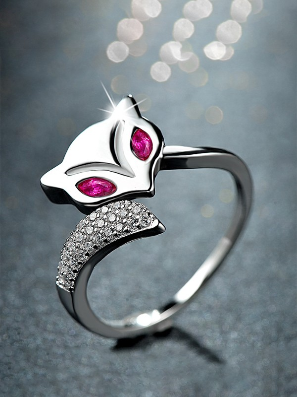 Lovely S925 Silver With Zircon Adjustable Rings