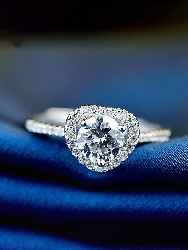 Charming S925 Silver With Zircon Adjustable Wedding Rings